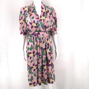 VTG LESLIE FAY Day Dress 6 Pink Floral Half Sleeve